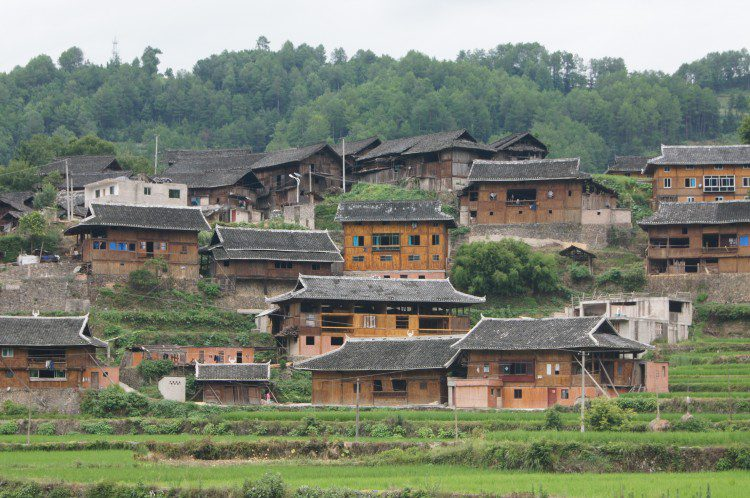 The unique homes of a Miao minority tribe in Kaili, Guizhou, China.