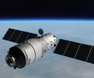 An artist's conception shows the Tiangong-1 space laboratory in orbit. (Credit: CMSA)